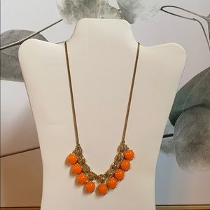 J. Crew: Orange and Faux Diamond Necklace
